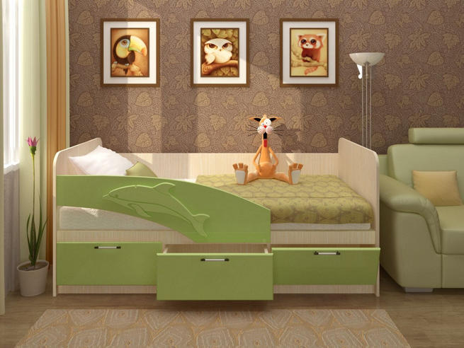 Детская кровать  800х1600 Дельфин-3D МДФ