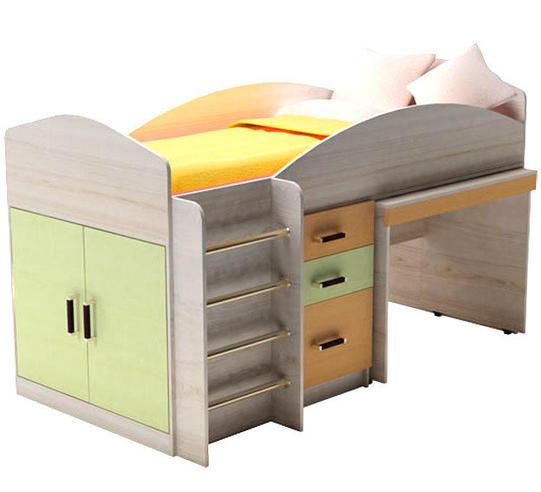 Детская кровать Алиса с цветными фасадам