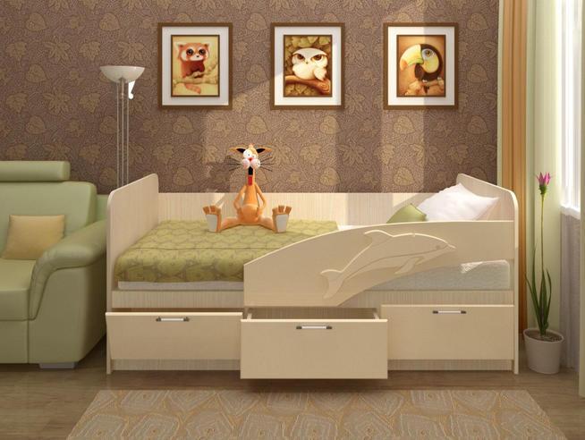 Детская кровать Дельфин-3D 800х2000 МДФ
