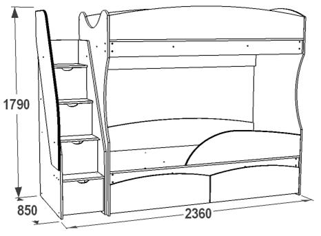 Кровать детская 2-х ярусная Омега-15