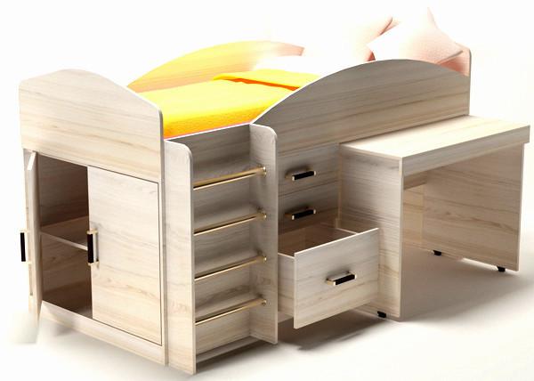 Кровать детская с выкатным столом Алиса-Премиум