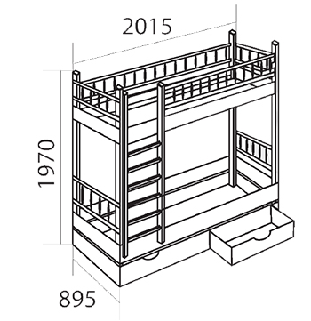 Кровать двухъярусная с фигурными спинками из массива сосны