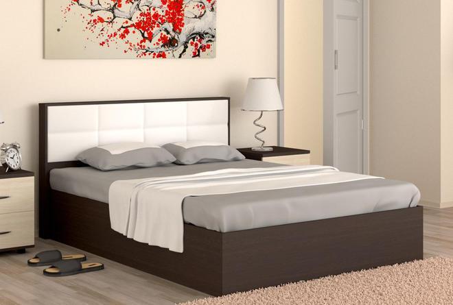 Кровать с подъёмным мех. Сонет (1400х2000) Венге/Эко-кожа