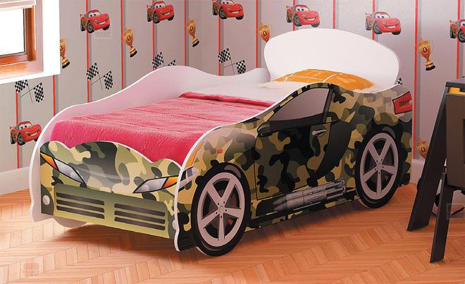 Кровать-машинка №1 для мальчика Омега-12 ЛДСП