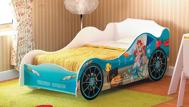 Кровать-машинка для девочки №2 Омега-12 ЛДСП