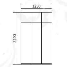Шкаф 3-х дв. с антресолью Флагман-2