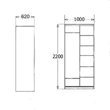 Шкаф-купе Мираж-10 с алюм. профилем (ширина-1000)