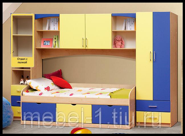 Детская мебель Омега-7 МДФ Дуб млеч./Жёлтый+Синий