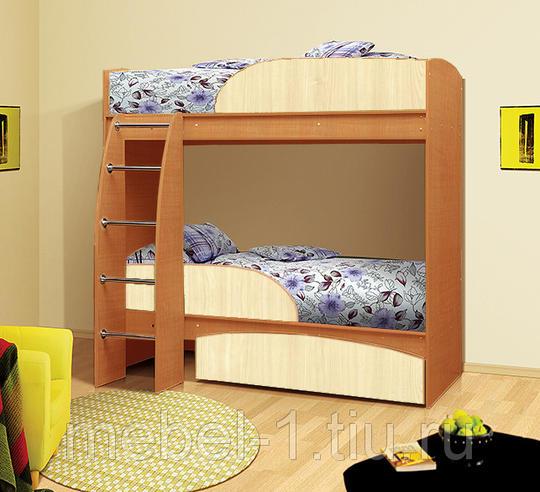 Кровать 2-х ярусная Омега-4 с ящиком Вишня/Клён