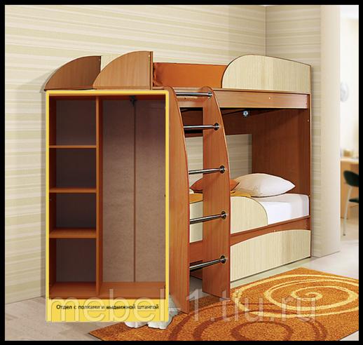 Кровать 2-х ярусная Омега-4А со шкафом Вишня/Клён