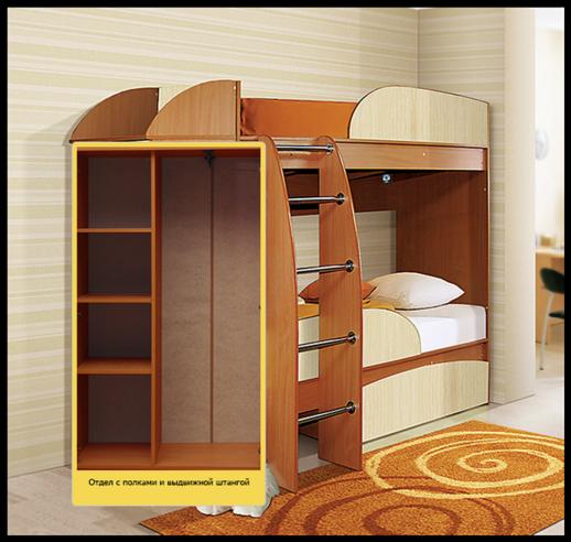 Кровать двухъярусная Омега-4а со шкафом