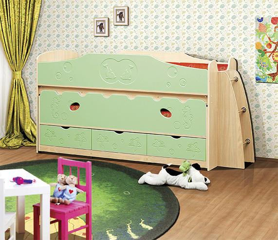 Кровать одинарная+выкатная Омега-10 МДФ с ящиками