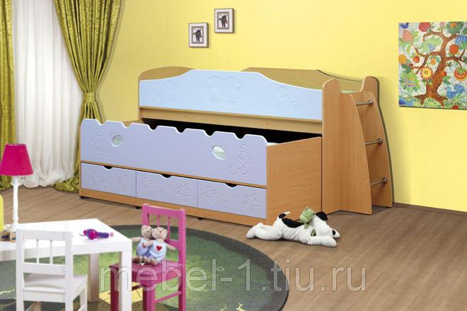 Кровать одинарная+выкатная Омега-10 МДФ с ящиками Дуб мл./Салат