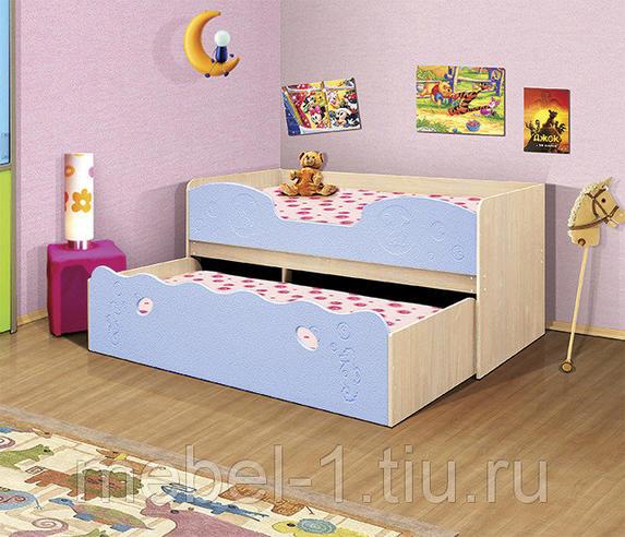 Кровать одинарная+выкатная Омега-11 МДФ Дуб млеч./Голубой