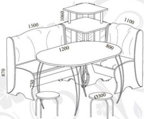 Кухонный уголок Блюз с Венским столом