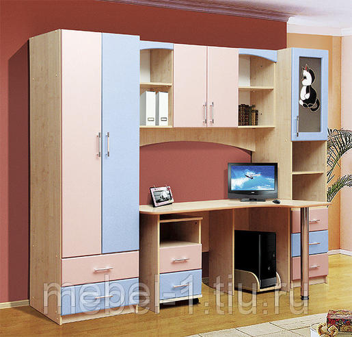 Уголок школьника Омега-6 МДФ Дуб млеч./ Розовый+Голубой