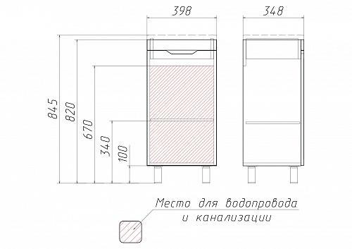 """Комплект """"Andrea 40"""" 3D тумба без ящика"""