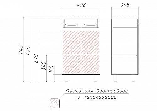 """Комплект """"Andrea 50"""" 3D тумба без ящика"""