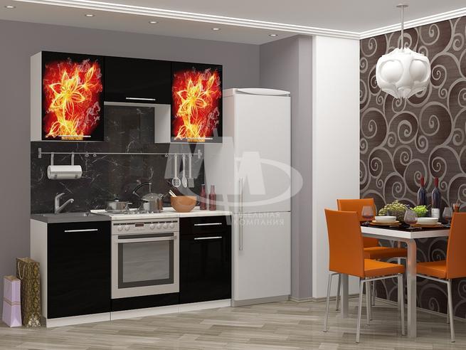 Кухонный гарнитур Огненный цветок - 1.6 метра МДФ