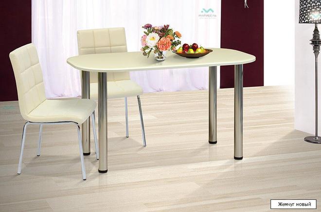 Стол обеденный и кухонный Овальный-1100 на металлических ножках