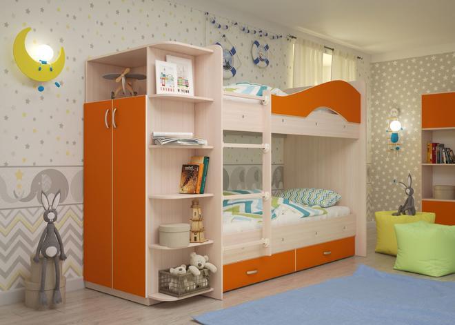 """МР- Двухъярусная кровать """"Мая"""" со шкафом и ящиками"""