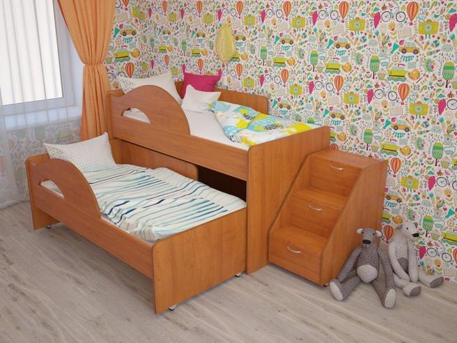 """МР- Кровать 2-х ярусная выкатная """"Радуга-1.6"""" с лестницей"""