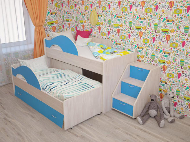 """МР- Кровать 2-х ярусная выкатная """"Радуга-1.6"""" с ящиком и лестницей"""