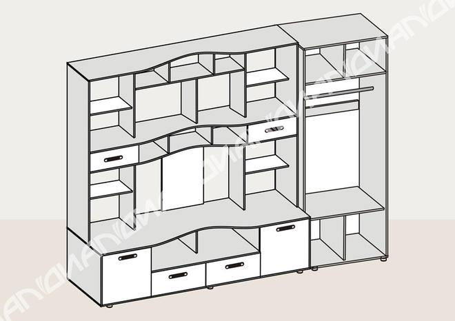Стенка для гостиной Аллегро вариант-4 со шкафом