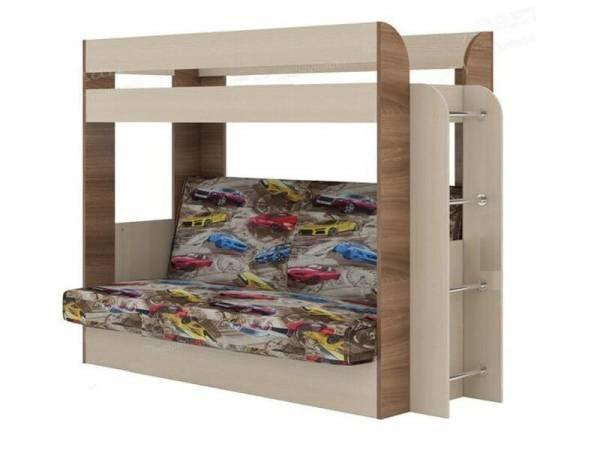 Кровать двухъярусная с диван-кроватью Карамель-75 (ткань Машинки)