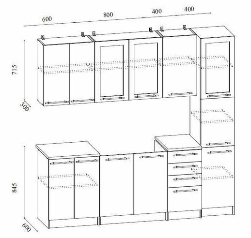 Кухонный гарнитур София-3D с Пеналом 2.2 м. МДФ